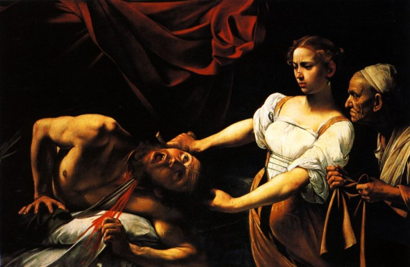 Judith beheading Holofernes. Painted by Michelangelo Merisi da Caravaggio, 1599
